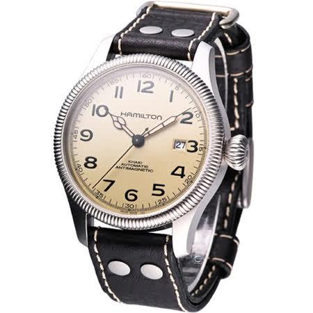 HAMILTON Khaki 航空自動機械腕錶 H60455593 咖啡色皮
