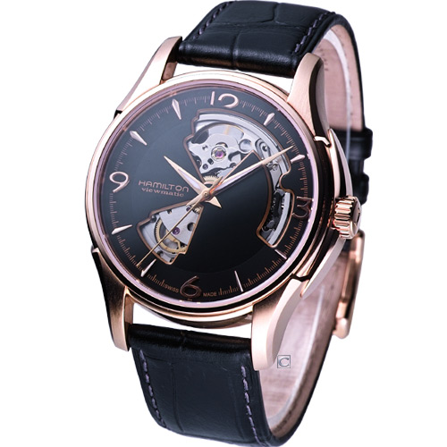 HAMILTON JazzMaster 經典鏤空 機械錶 H32575735 玫瑰金色