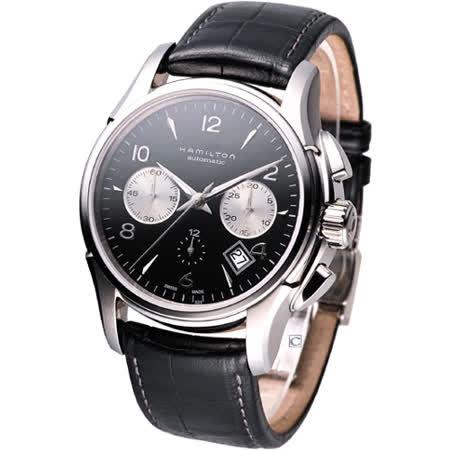 HAMILTON Jazzmaster自動計時腕錶 H32656833 黑面皮