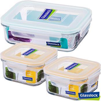 Glasslock強化玻璃微波保鮮盒 - 輕巧收納3件組