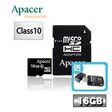 Apacer宇瞻 16GB microSDHC Class10記憶卡-送多合一讀卡機