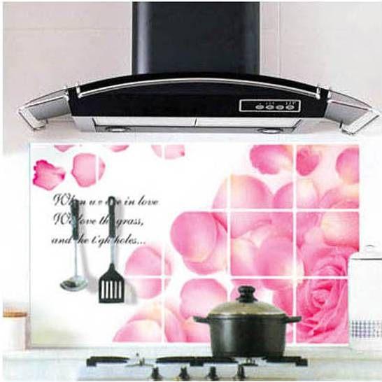 高檔鋁箔廚房防污貼紙磁磚貼紙隔油紙(5入)-玫瑰花