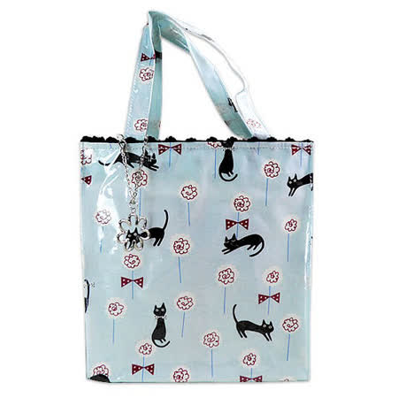 【Noafamily日本諾亞家族】玫瑰花園貓咪簡單生活手提袋(天藍色)