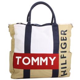 TOMMY HILFIGER 休閒托特包-白駝紅