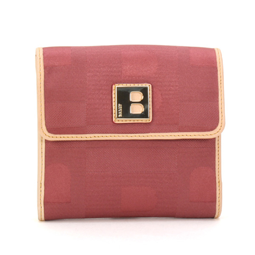 BALLY  經典LOGO壓扣式零錢短夾-紫紅色