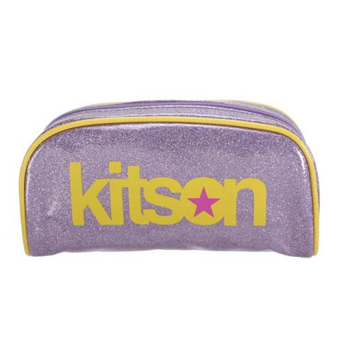 Kitson LOGO 金蔥亮面筆袋化妝包-淺紫黃邊