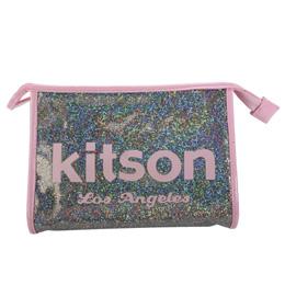 Kitson 小亮片化妝拿包-彩底粉字