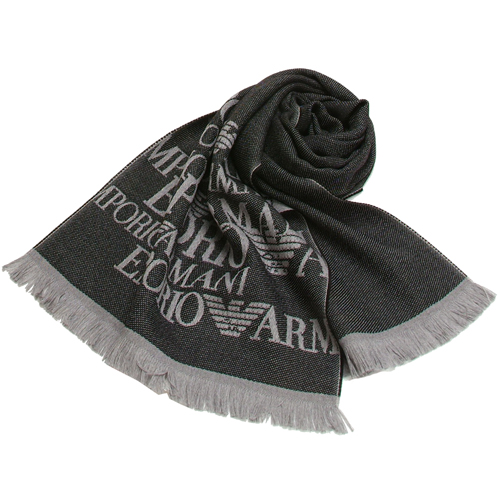 EMPORIO ARMANI 100^%羔羊毛雙面雙色圍巾~黑灰