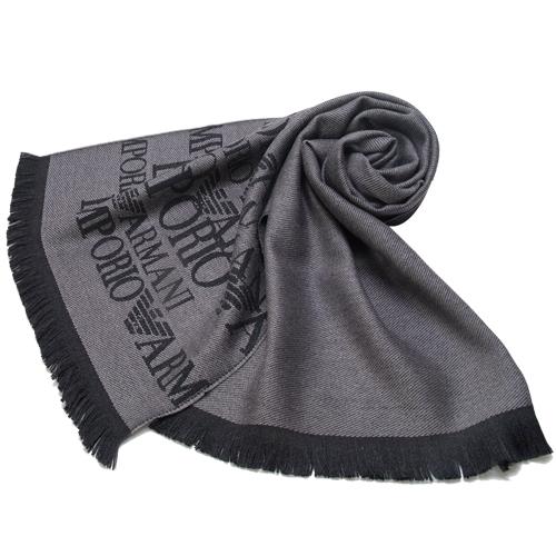 EMPORIO ARMANI 100%羔羊毛雙面雙色圍巾-灰黑