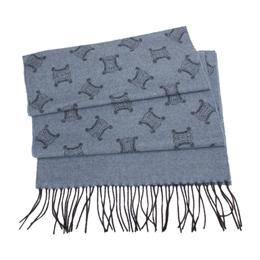 【勸敗】gohappy快樂購CELINE 經典LOGO織紋羊毛圍巾-藍灰色推薦舊 遠 百