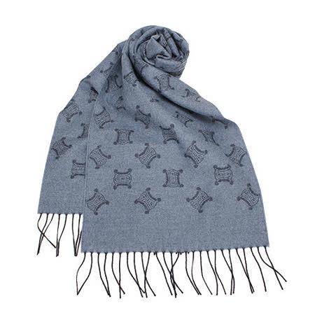 CELINE 經典LOGO織紋羊毛圍巾-藍灰色