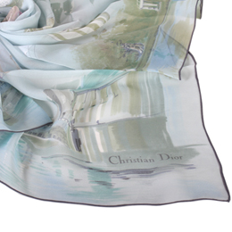 Christian Dior 城市與熱氣球絹紗(大)絲巾-淺藍色