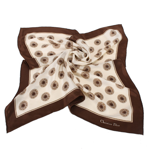 Christian Dior 星芒圓點緞面領帕巾-咖啡色