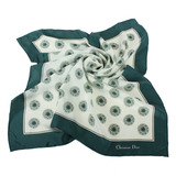 Christian Dior 星芒圓點緞面領帕巾-綠色
