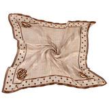 Christian Dior 滿版細格紋點點邊框(大)領巾-咖啡色