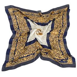 【勸敗】gohappy快樂購物網Christian Dior 巴洛克滿版雕花(大)領巾-深藍價格愛 買 年菜