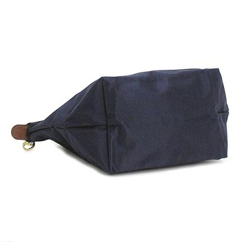 LONGCHAMP經典短提把小型尼龍摺疊水餃包-深藍色