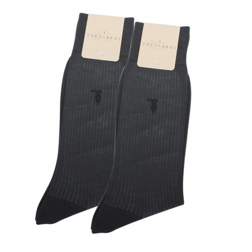 TRUSSARDI 薄型純棉紳士襪【深灰色2入】