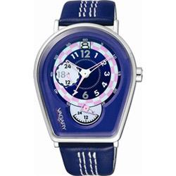 VAGARY 馬蹄造型皮帶錶(紫藍)