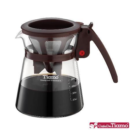 Tiamo 極細濾網分享壺-咖啡色 500ml (HG1976)
