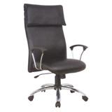 特大型高背PU鋼管主管椅/辦公電腦椅[含後仰功能]-黑色