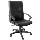 豪華型PVC皮革主管辦公椅[含後仰功能]-黑色