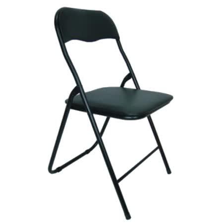 高背橋牌折疊椅-全黑色 (四入組)