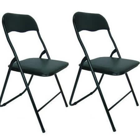 高背橋牌折疊椅-全黑色 (六入組)