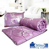 【米夢家居】紫色風情100%雙面精梳純棉兩用被套(雙人)