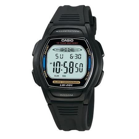 CASIO 校園魅力經典電子錶(藍邊)