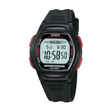 CASIO 校園魅力經典電子錶(紅邊)