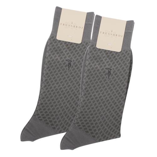 TRUSSARDI 滿版斜格紳士襪【灰色2入】