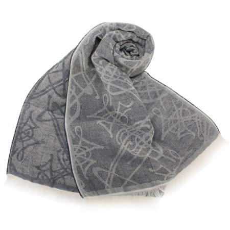 【真心勸敗】gohappy快樂購Vivienne Westwood 滿版LOGO壓紋亞麻薄圍巾-灰藍效果24 小時 愛 買