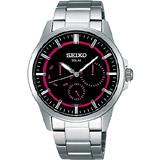 【SEIKO】風行者太陽能日曆腕錶(J-0AX0R)-桃紅/黑