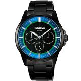 【SEIKO】風行者太陽能日曆腕錶(V14J-0AX0B)-藍/IP黑