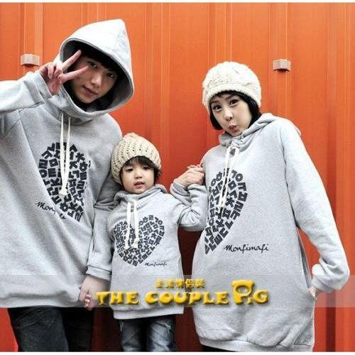 韓國冬款刷毛《心心相印》長袖親子裝@四件組【預購款】