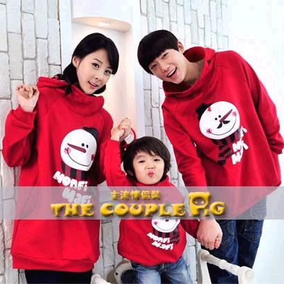 韓國冬款刷毛《時尚小雪人》長袖親子裝@四件組【預購款】