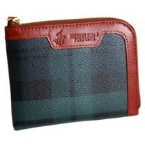 【BEVERLY HILLS POLO】金牌綠格紋 L型開式零錢卡夾包2057