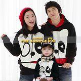 韓國冬款刷毛《神氣酷巴狗-黑衣》長袖親子裝@四件組【預購款】