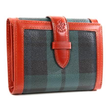 【BEVERLY HILLS POLO】金牌綠格 穿式內零錢袋短夾2028