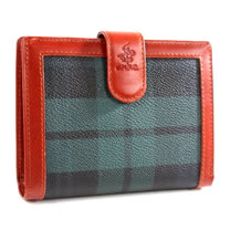 【BEVERLY HILLS POLO】金牌綠格 扣式內零錢袋短夾2033