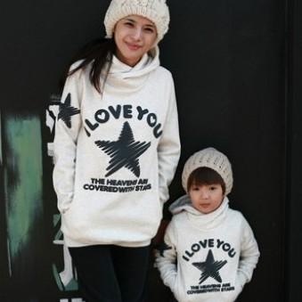 韓國冬款刷毛《許願五角星-灰色》長袖親子裝@三件組【預購款】