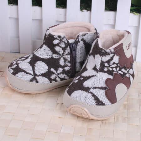 KUKI 酷奇可愛小花布紋保暖學步鞋/寶寶鞋/高筒鞋☆女童鞋☆s2040