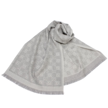 GUCCI 經典雙G-LOGO羊毛圍巾-淺灰色