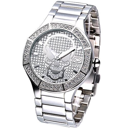 MARC ECKO 神鬼戰士骷髏圖騰晶鑽腕錶