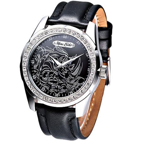 MARC ECKO 狂野犀牛圖騰時尚晶鑽腕錶