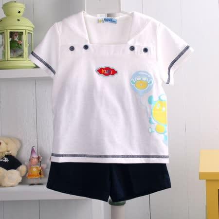 KUKI~酷奇~海洋系列男童裝~水手服設計套裝~短袖水手上衣加短褲~k03041~台灣製造