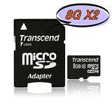 創見Transcend MicroSDHC Class10 8GB 記憶卡-2入組