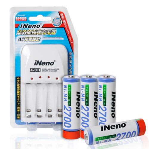 iNeno 獨立迴路四槽極速充電器 搭iNeno三號充電池4入(全家)