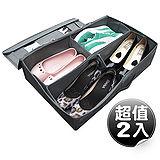 【SoEasy】超值2入竹炭4格視窗鞋靴整理箱42L-可自由分隔